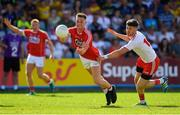 7 July 2018; Kevin Flahive of Cork in action against Conor Meyler of Tyrone during the GAA Football All-Ireland Senior Championship Round 4 between Cork and Tyrone at O'Moore Park in Portlaoise, Co. Laois. Photo by Brendan Moran/Sportsfile