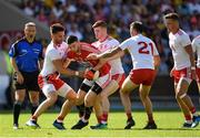7 July 2018; Luke Connolly of Cork in action against Tyrone players, from left, Pádraig Hamspey, Cathal McShane, Cathal McCarron and Michael McKernan during the GAA Football All-Ireland Senior Championship Round 4 between Cork and Tyrone at O'Moore Park in Portlaoise, Co. Laois. Photo by Brendan Moran/Sportsfile