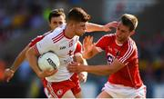 7 July 2018; Cathal McShane of Tyrone in action against Cian Kelly of Cork during the GAA Football All-Ireland Senior Championship Round 4 between Cork and Tyrone at O'Moore Park in Portlaoise, Co. Laois. Photo by Eóin Noonan/Sportsfile