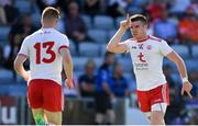 7 July 2018; Connor McAliskey of Tyrone, right, celebrates after scoring his side's first goal during the GAA Football All-Ireland Senior Championship Round 4 between Cork and Tyrone at O'Moore Park in Portlaoise, Co. Laois. Photo by Brendan Moran/Sportsfile