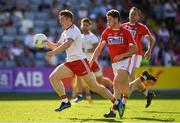 7 July 2018; Peter Harte of Tyrone in action against Kevin Crowley of Cork during the GAA Football All-Ireland Senior Championship Round 4 between Cork and Tyrone at O'Moore Park in Portlaoise, Co. Laois. Photo by Brendan Moran/Sportsfile