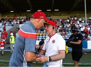 7 July 2018; Cork manager Ronan McCarthy shakes hands with Tyrone manager Mickey Harte following the GAA Football All-Ireland Senior Championship Round 4 between Cork and Tyrone at O'Moore Park in Portlaoise, Co. Laois. Photo by Eóin Noonan/Sportsfile
