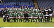 16 August 2003; The Ireland team who played Wales , back row l to r; Gordon D'Arcy, Girvan Dempsey, Tyrone Howe, Keith Gleeson, Reggie Corrigan, Paul O'Connell, Malcolm O'Kelly, Anthony Foley, Simon Best, Shane Byrne, David Wallace, Donnacha O'Callaghan. front l to r; Guy Easterby, Peter Stringer, Alan Quinlan, Kevin Maggs, Brian O'Driscoll, John Quilligan, President of the IRFU, Keith Wood, Geordan Murphy, David Humphreys, Anthony Horgan, Justin Fitzpatrick. Permanent TSB test, Ireland v Wales, Lansdowne Road, Dublin. Picture credit; Brendan Moran / SPORTSFILE *EDI*