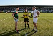 30 June 2018; Referee David Gough with team captains Cillian O'Connor of Mayo and Eoin Doyle of Kildare before the GAA Football All-Ireland Senior Championship Round 3 match between Kildare and Mayo at St Conleth's Park in Newbridge, Kildare. Photo by Piaras Ó Mídheach/Sportsfile