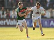 30 June 2018; Paul Cribbin of Kildare in action against Paddy Durcan of Mayo during the GAA Football All-Ireland Senior Championship Round 3 match between Kildare and Mayo at St Conleth's Park in Newbridge, Kildare. Photo by Piaras Ó Mídheach/Sportsfile