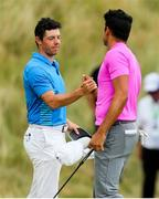7 July 2018; Rory McIlroy of Northern Ireland and Julian Suri of USA on the 18th green during Day Three of the Dubai Duty Free Irish Open Golf Championship at Ballyliffin Golf Club in Ballyliffin, Co. Donegal. Photo by John Dickson/Sportsfile