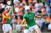 7 July 2018; Kyle Hayes of Limerick celebrates scoring his side's first goal during the GAA Hurling All-Ireland Senior Championship Preliminary Quarter-Final match between Carlow and Limerick at Netwatch Cullen Park in Carlow. Photo by Matt Browne/Sportsfile