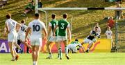 7 July 2018; Fermanagh goalkeeper Patrick Cadden saves a shot on goal from Keith Cribbin of Kildare, 12, during the GAA Football All-Ireland Senior Championship Round 4 match between Fermanagh and Kildare at Páirc Tailteann in Navan, Co. Meath. Photo by Piaras Ó Mídheach/Sportsfile