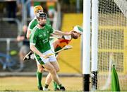 7 July 2018; Graeme Mulcahy of Limerick scores his side's second goal during the GAA Hurling All-Ireland Senior Championship Preliminary Quarter-Final match between Carlow and Limerick at Netwatch Cullen Park in Carlow. Photo by Matt Browne/Sportsfile