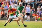 7 July 2018; Kyle Hayes of Limerick in action against David English of Carlow during the GAA Hurling All-Ireland Senior Championship Preliminary Quarter-Final match between Carlow and Limerick at Netwatch Cullen Park in Carlow. Photo by Matt Browne/Sportsfile
