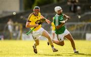 7 July 2018; Diarmuid O'Keeffe of Wexford in action against Robbie Greville of Westmeath during the GAA Hurling All-Ireland Senior Championship Preliminary Quarter-Final match between Westmeath and Wexford at TEG Cusack Park in Mullingar, Co. Westmeath. Photo by Diarmuid Greene/Sportsfile