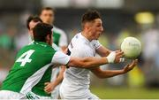 7 July 2018; Neil Flynn of Kildare in action against Michael Jones of Fermanagh during the GAA Football All-Ireland Senior Championship Round 4 match between Fermanagh and Kildare at Páirc Tailteann in Navan, Co. Meath. Photo by Piaras Ó Mídheach/Sportsfile