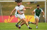 7 July 2018; Fergal Conway of Kildare in action against Eoin Donnelly and Kane Connor, right, of Fermanagh during the GAA Football All-Ireland Senior Championship Round 4 match between Fermanagh and Kildare at Páirc Tailteann in Navan, Co. Meath. Photo by Piaras Ó Mídheach/Sportsfile