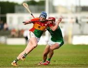 7 July 2018; Diarmuid Byrne of Carlow in action against Barry Nash of Limerick during the GAA Hurling All-Ireland Senior Championship Preliminary Quarter-Final match between Carlow and Limerick at Netwatch Cullen Park in Carlow. Photo by Matt Browne/Sportsfile