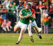 7 July 2018; Peter Casey of Limerick scores his side's fifth goal during the GAA Hurling All-Ireland Senior Championship Preliminary Quarter-Final match between Carlow and Limerick at Netwatch Cullen Park in Carlow. Photo by Matt Browne/Sportsfile