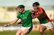 7 July 2018; William O'Donoghue of Limerick in action against Jack Kavanagh of Carlow during the GAA Hurling All-Ireland Senior Championship Preliminary Quarter-Final match between Carlow and Limerick at Netwatch Cullen Park in Carlow. Photo by Matt Browne/Sportsfile