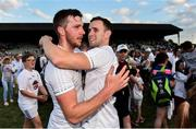 7 July 2018; Kildare's Johnny Byrne, left, and Cathal McNally celebrate after the GAA Football All-Ireland Senior Championship Round 4 match between Fermanagh and Kildare at Páirc Tailteann in Navan, Co. Meath. Photo by Piaras Ó Mídheach/Sportsfile