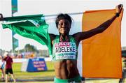 7 July 2018; Rhasidat Adeleke of Ireland celebrates winning gold in the Girl's 200m final at the European U18 Athletics Championships in Gyor, Hungary. Photo by Giancarlo Columbo/Sportsfile