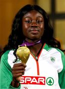 7 July 2018; Rhasidat Adeleke of Ireland with her gold medal from the Girls 200m at the European U18 Athletics Championships in Gyor, Hungary. Photo by Giancarlo Columbo/Sportsfile