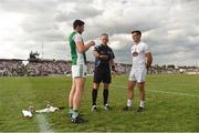 7 July 2018; Referee Conor Lane with team captains Fermanagh captain Eoin Donnelly and Eoin Doyle of Kildare before the GAA Football All-Ireland Senior Championship Round 4 match between Fermanagh and Kildare at Páirc Tailteann in Navan, Co. Meath. Photo by Piaras Ó Mídheach/Sportsfile