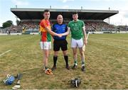 7 July 2018; Referee John Keenan with Carlow captain Diarmuid Byrne and Limerick captain Declan Hannon before the GAA Hurling All-Ireland Senior Championship Preliminary Quarter-Final match between Carlow and Limerick at Netwatch Cullen Park in Carlow. Photo by Matt Browne/Sportsfile