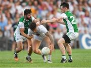 7 July 2018; David Slattery of Kildare in action against Kane Connor, left, and Tomás Corrigan of Fermanagh during the GAA Football All-Ireland Senior Championship Round 4 match between Fermanagh and Kildare at Páirc Tailteann in Navan, Co. Meath. Photo by Piaras Ó Mídheach/Sportsfile