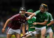 8 July 2018; Dean Reilly of Galway in action against Ben Herlihy of Limerick during the Electric Ireland GAA Hurling All-Ireland Minor Championship Quarter-Final match between Galway and Limerick at Semple Stadium in Thurles, Co Tipperary. Photo by Ray McManus/Sportsfile