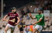 8 July 2018; Oisín Flannery of Galway in action against Eoin O'Mahony of Limerick during the Electric Ireland GAA Hurling All-Ireland Minor Championship Quarter-Final match between Galway and Limerick at Semple Stadium in Thurles, Co Tipperary. Photo by Ray McManus/Sportsfile