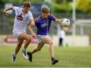 8 July 2018; Kevin Quinn of Wicklow in action against Michael McGovern of Kildare during the Electric Ireland Leinster GAA Minor Football Championship Semi-Final match between Kildare and Wicklow at St Conleth's Park in Newbridge, Co. Kildare. Photo by Piaras Ó Mídheach/Sportsfile
