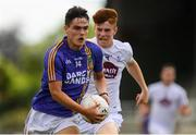 8 July 2018; Eoin Darcy of Wicklow in action against Seán Hill of Kildare during the Electric Ireland Leinster GAA Minor Football Championship Semi-Final match between Kildare and Wicklow at St Conleth's Park in Newbridge, Co. Kildare. Photo by Piaras Ó Mídheach/Sportsfile