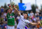 8 July 2018; Shane Carey of Monaghan in action against Graham Brody of Laois during the GAA Football All-Ireland Senior Championship Round 4 match between Laois and Monaghan at Páirc Tailteann in Navan, Co Meath. Photo by Ramsey Cardy/Sportsfile