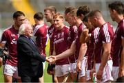 8 July 2018; President Michael D Higgins shakes hands with Joe Canning of Galway prior to the Leinster GAA Hurling Senior Championship Final Replay match between Kilkenny and Galway at Semple Stadium in Thurles, Co Tipperary. Photo by Eóin Noonan/Sportsfile