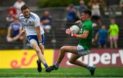 8 July 2018; Graham Brody of Laois saves a shot at goal by Conor McManus of Monaghan during the GAA Football All-Ireland Senior Championship Round 4 match between Laois and Monaghan at Páirc Tailteann in Navan, Co Meath. Photo by Ramsey Cardy/Sportsfile