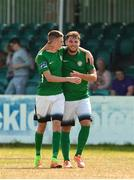 8 July 2018; Daniel Kelly of Bray Wanderers congratulates team-mate Ger Pender after he scored a goal during the SSE Airtricity League Premier Division match between Bray Wanderers and Sligo Rovers at the Carlisle Grounds in Bray, Co Wicklow. Photo by Matt Browne/Sportsfile