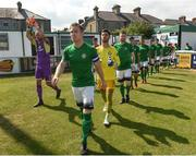 8 July 2018; Bray Wanderers captain Conor Kenna leads out his team before the SSE Airtricity League Premier Division match between Bray Wanderers and Sligo Rovers at the Carlisle Grounds in Bray, Co Wicklow. Photo by Matt Browne/Sportsfile