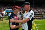 8 July 2018; Kilkenny manager Brian Cody shakes hands with Galway manager Micheál Donoghue following the Leinster GAA Hurling Senior Championship Final Replay match between Kilkenny and Galway at Semple Stadium in Thurles, Co Tipperary. Photo by Eóin Noonan/Sportsfile