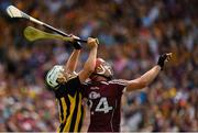 8 July 2018; Padraig Walsh of Kilkenny and Jonathan Glynn of Galway watch a dropping ball during the Leinster GAA Hurling Senior Championship Final Replay match between Kilkenny and Galway at Semple Stadium in Thurles, Co Tipperary. Photo by Brendan Moran/Sportsfile