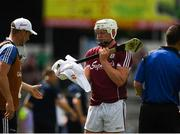 8 July 2018; Joe Canning of Galway wipes his hurley stick with a towel before taking a sideline cut during the Leinster GAA Hurling Senior Championship Final Replay match between Kilkenny and Galway at Semple Stadium in Thurles, Co Tipperary. Photo by Ray McManus/Sportsfile