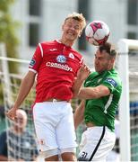 8 July 2018; Kris Twardeck of Sligo Rovers in action against Sean Harding of Bray Wanderers during the SSE Airtricity League Premier Division match between Bray Wanderers and Sligo Rovers at the Carlisle Grounds in Bray, Co Wicklow. Photo by Matt Browne/Sportsfile