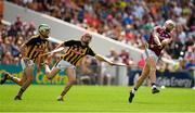 8 July 2018; Joe Canning of Galway gets a shot in ahead of Paddy Deegan, left, and James Maher of Kilkenny during the Leinster GAA Hurling Senior Championship Final Replay match between Kilkenny and Galway at Semple Stadium in Thurles, Co Tipperary. Photo by Brendan Moran/Sportsfile