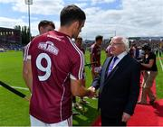 8 July 2018; President Michael D Higgins meets Galway captain David Burke prior to the Leinster GAA Hurling Senior Championship Final Replay match between Kilkenny and Galway at Semple Stadium in Thurles, Co Tipperary. Photo by Brendan Moran/Sportsfile