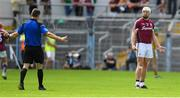 8 July 2018; Joe Canning of Galway queries a hawkeye decision with referee James Owens during the Leinster GAA Hurling Senior Championship Final Replay match between Kilkenny and Galway at Semple Stadium in Thurles, Co Tipperary. Photo by Brendan Moran/Sportsfile