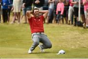 8 July 2018; Jon Rahm of Spain reacts after almost chipping in for an eagle on the 18th green after Day Four of the Dubai Duty Free Irish Open Golf Championship at Ballyliffin Golf Club in Ballyliffin, Co. Donegal. Photo by Oliver McVeigh/Sportsfile