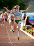 8 July 2018; Sarah Healy of Ireland crosses the line to win the Girls 1500m at the European U18 Athletics Championships in Gyor, Hungary. Photo by Giancarlo Columbo/Sportsfile