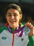 9 July 2018; Ireland's Sophie O'Sullivan, Ballymore Cobh AC, Cork, with her silver medal she won in the Girls 800m event, during the Team Ireland homecoming from the European Athletics Under-18 Championships in Gyor, Hungary, at Dublin Airport in Dublin. Photo by Piaras Ó Mídheach/Sportsfile