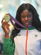 9 July 2018; Ireland's Rhasidat Adeleke, Tallaght AC, Dublin, with her gold medal for winning the Girls 200m event, during the Team Ireland homecoming from the European Athletics Under-18 Championships in Gyor, Hungary, at Dublin Airport in Dublin. Photo by Piaras Ó Mídheach/Sportsfile