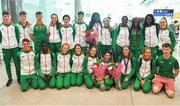 9 July 2018; Team Ireland athletes during their homecoming from the European Athletics Under-18 Championships in Gyor, Hungary, at Dublin Airport in Dublin. Photo by Piaras Ó Mídheach/Sportsfile