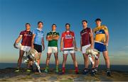 10 July 2018; In attendance at the GAA Hurling and Football All Ireland Senior Championship Series National Launch at Dun Aengus in the Aran Islands, Co Galway, are from left, Damien Comer of Galway, Michael Fitzsimons of Dublin with the Sam Maguire Cup and Shane Enright of Kerry, with Seamus Harnedy of Cork, Johnny Coen of Galway with the Liam MacCarthy Cup and David Fitzgerald of Clare. Photo by Ray McManus/Sportsfile