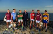10 July 2018; In attendance at the GAA Hurling and Football All Ireland Senior Championship Series National Launch at Dun Aengus in the Aran Islands, Co Galway, are from left, Damien Comer of Galway, Michael Fitzsimons of Dublin with the Sam Maguire Cup and Shane Enright of Kerry, Uachtarán Chumann Lúthchleas Gael John Horan, Seamus Harnedy of Cork, Johnny Coen of Galway with the Liam MacCarthy Cup and David Fitzgerald of Clare. Photo by Brendan Moran/Sportsfile