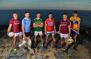 10 July 2018; In attendance at the GAA Hurling and Football All Ireland Senior Championship Series National Launch at Dun Aengus in the Aran Islands, Co Galway, are from left, Damien Comer of Galway, Michael Fitzsimons of Dublin with the Sam Maguire Cup and Shane Enright of Kerry, with Seamus Harnedy of Cork, Johnny Coen of Galway with the Liam MacCarthy Cup and David Fitzgerald of Clare. Photo by Brendan Moran/Sportsfile